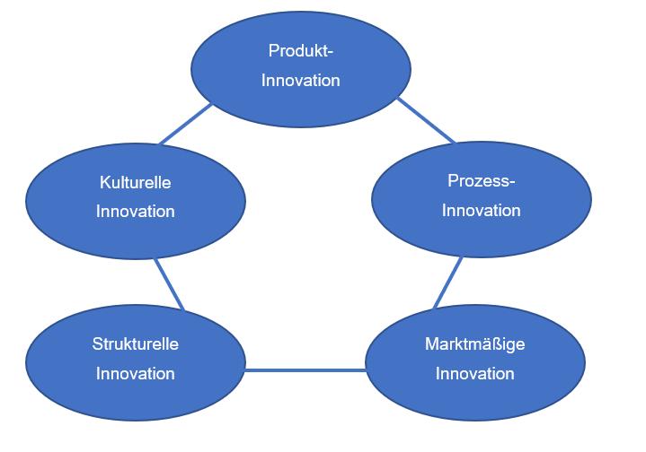 Arten von Innovation nach Disselkamp, M. (2005, S. 20), Produktinnovation, Kulturelle Innovation, Strukturelle Innovation, Marktmäßige Innovation, Prozess Innovation